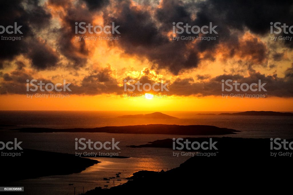 Sunset captured at the Sky Road, Clifden, Ireland stock photo