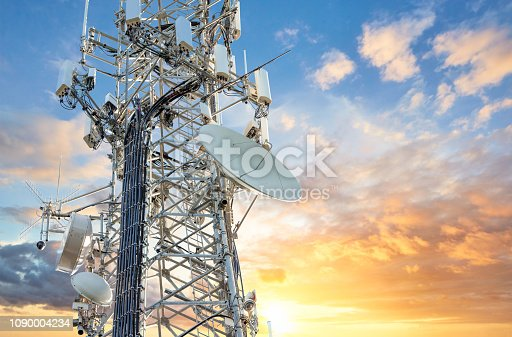 istock 5G Sunset Cell Tower: Cellular communications tower for mobile phone and video data transmission 1090004234
