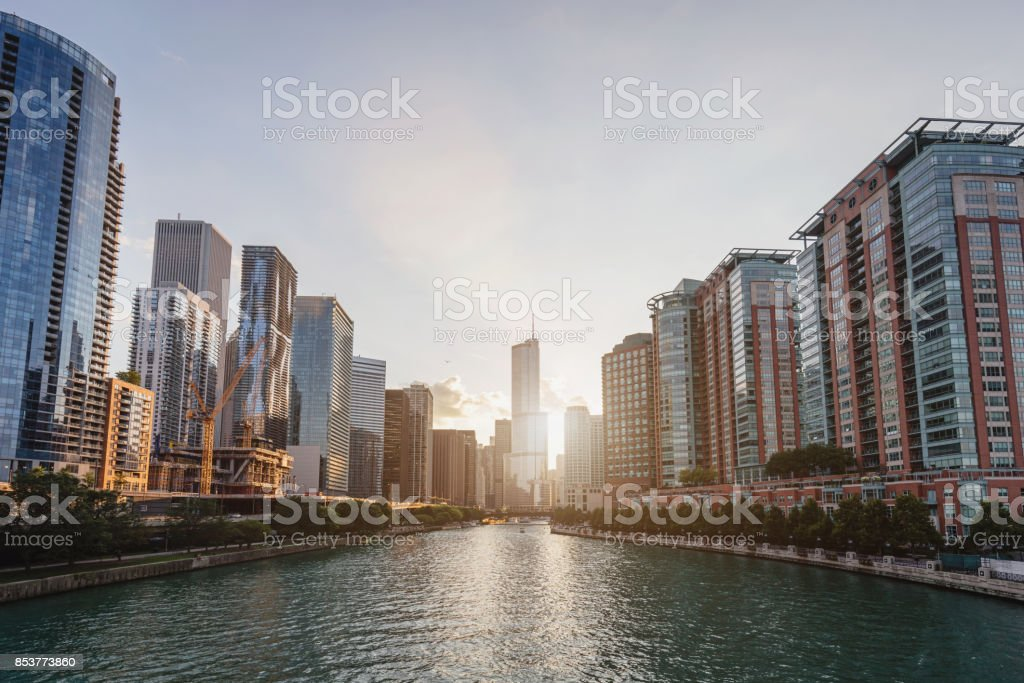 Sunset Chicago Cityscape stock photo