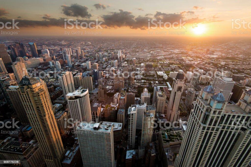 Sunset Chicago stock photo