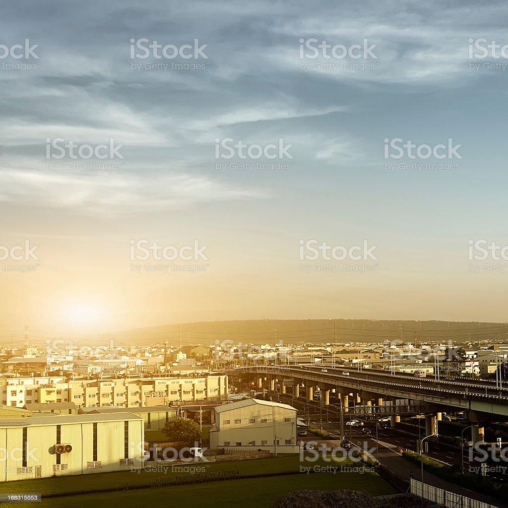 Sunset city scenery royalty-free stock photo