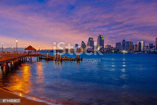 Pier with San Diego skyline, San Diego sunset skyline, Sunset with pier