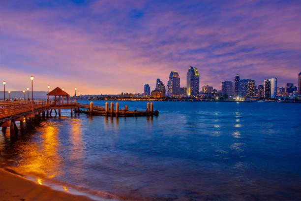 Sunset City Skyline Of San Diego, California (P) stock photo