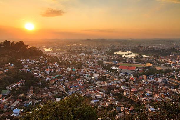 Sunset cityscape Antananarivo stock photo