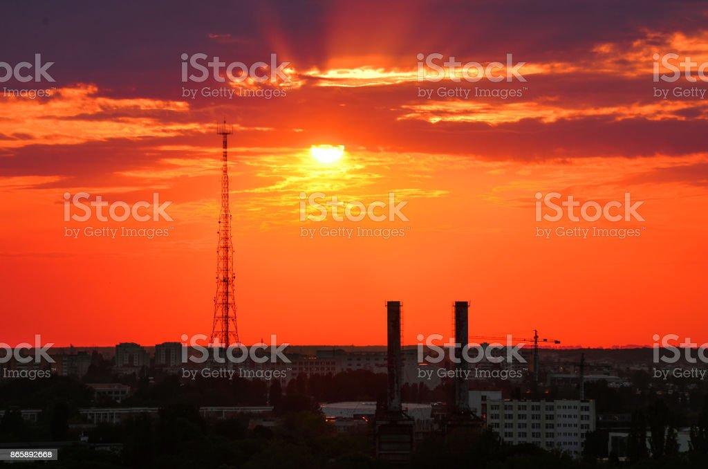 Sunset Cityscape Bucharest stock photo