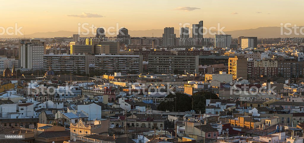 Sunset cityscape high rises and homes panorama Valencia Spain stock photo