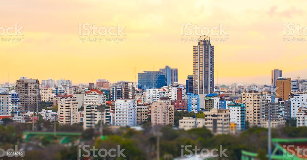 Sunset cityscape of Santo Domingo, Dominican Republic stock photo