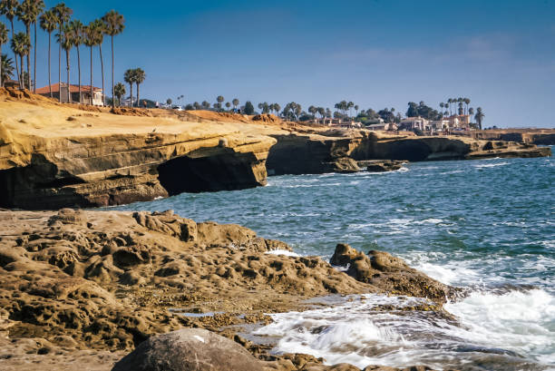 Sunset Cliffs Natural Park near La Jolla Beach and San Diego California stock photo