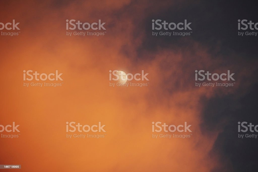 Sunset Cloud Moon Dramatic Sky royalty-free stock photo