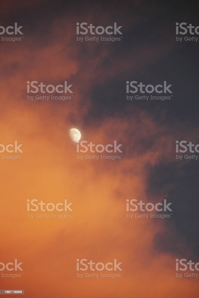 Sunset Cloud Moon Dramatic Sky stock photo