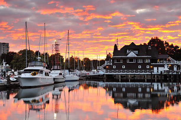Sunset Clouds over Vancouver Rowing Club in Stanley Park stock photo