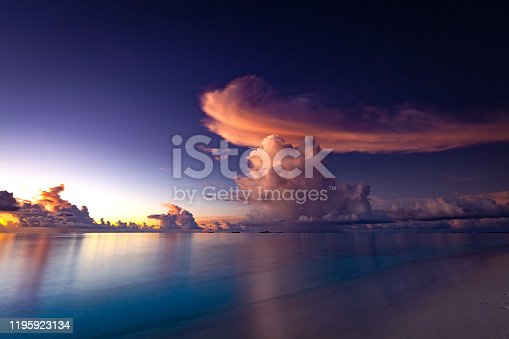 long exposure sunset cloudscape at maldives islands, indian ocean.