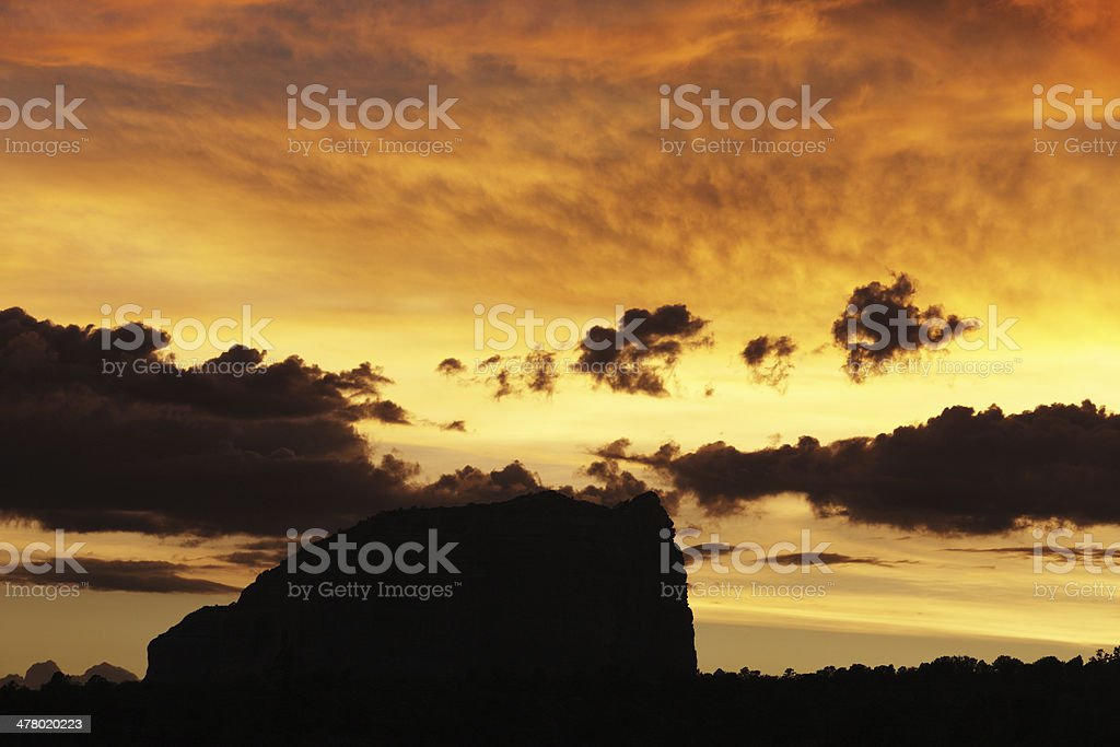 Sunset Cloudscape Sky Butte Landscape Silhouette royalty-free stock photo