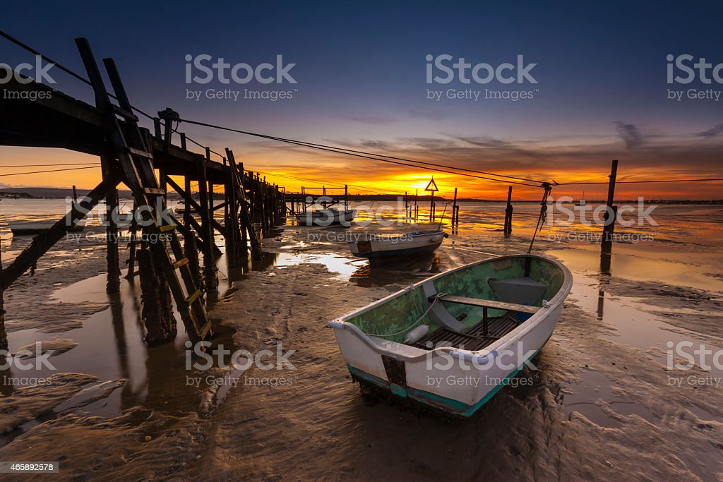 Sunset coastal scene of Poole Harbour stock photo
