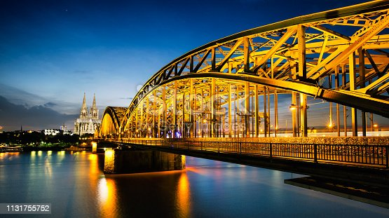 sunset cologne and bridge over Rhine river