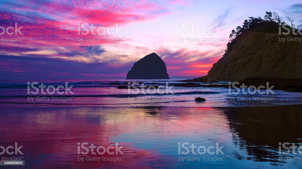 Sunset Colors at the Ocean stock photo