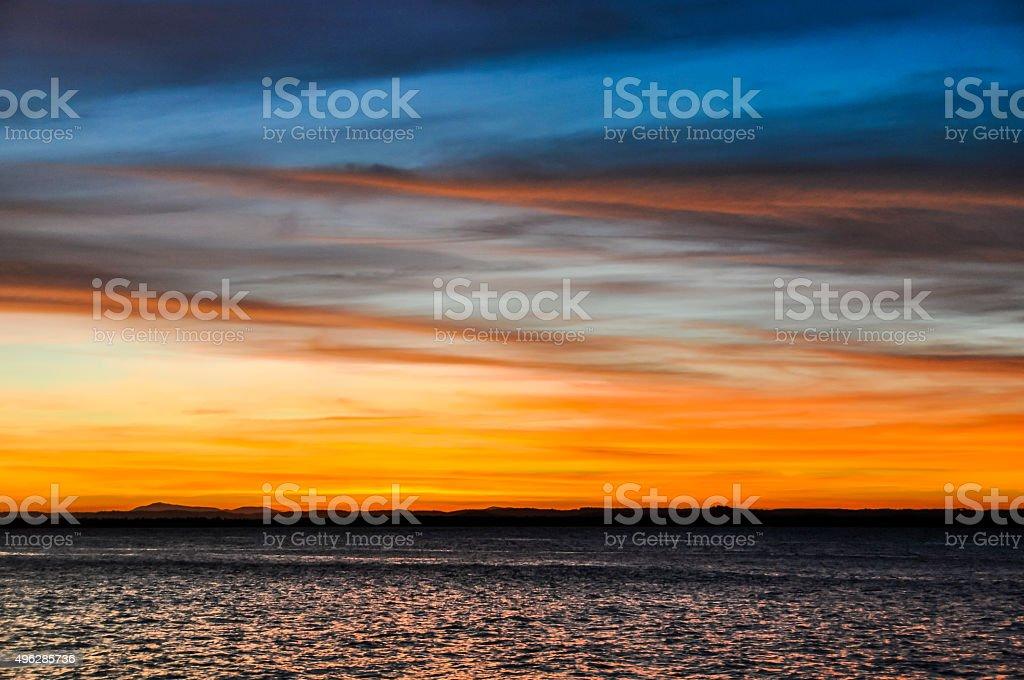 Sunset colors in Morro de Sao Paulo, Salvador, Brazil stock photo