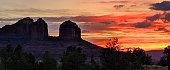 Sunset colors over Slide Rock and Red Rocks State Park near Sedona Arizona