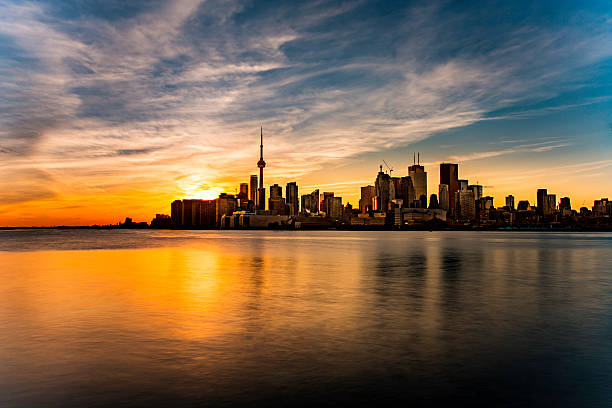 sunset colors - toronto stock pictures, royalty-free photos & images