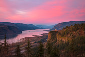 Bright red sunset in the Columbia River Gorge, Oregon.