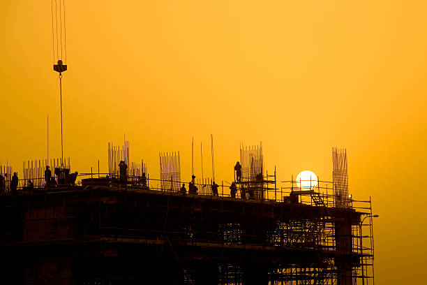 Sunset Construction stock photo