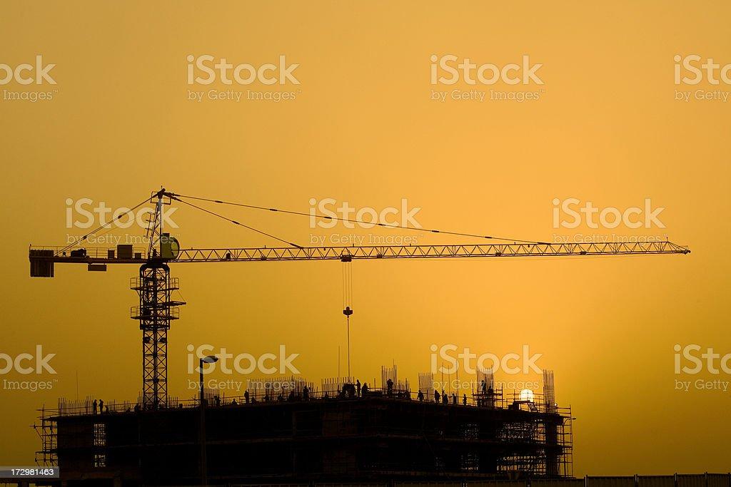 Sunset Construction royalty-free stock photo