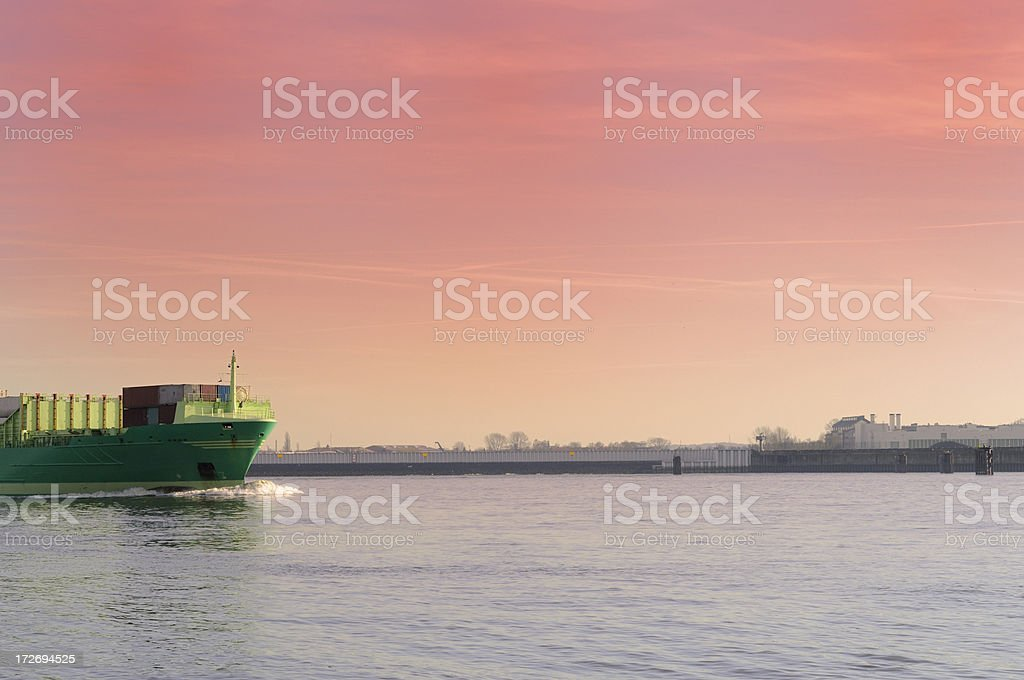 sunset container ship royalty-free stock photo