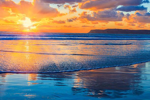 tramonto spiaggia coronado, surf, san diego, ca - oceano pacifico foto e immagini stock