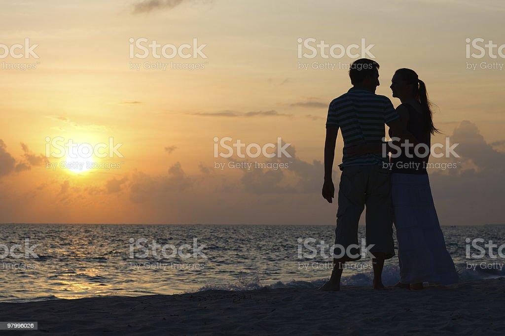 Sunset couple royalty-free stock photo
