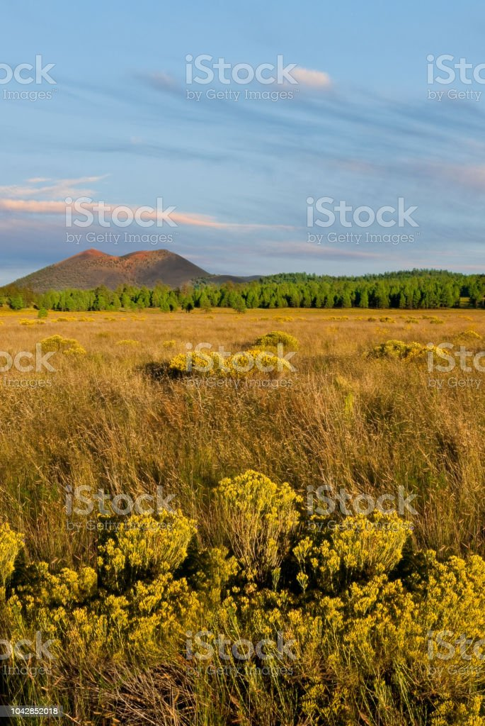 Sunset Crater and Bonito Park stock photo
