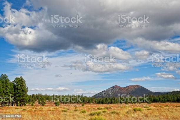 Sunset Crater From Bonito Park Stock Photo - Download Image Now