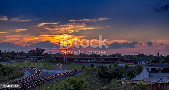 Sunset over the EJ&E Railroad cloverleaf - Matteson Illinois