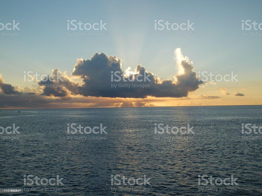 グアム タモンビーチの夕暮れの写真です