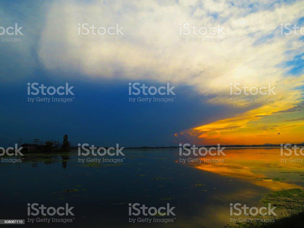 Sunset, Dal Lake stock photo