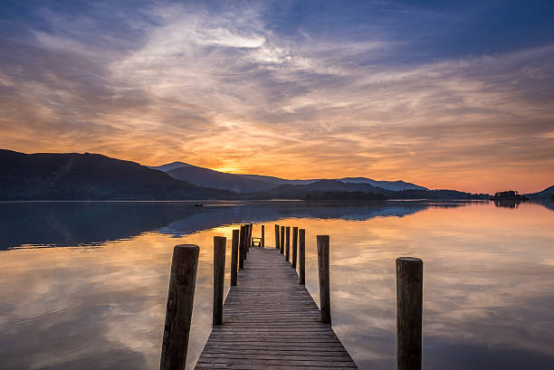 Sunset Derwent Water stock photo