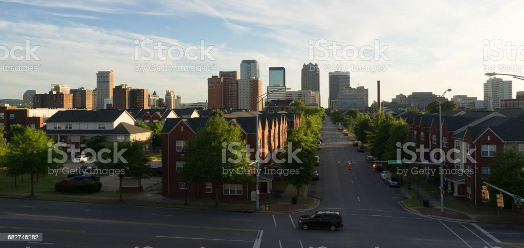 Sunset Downtown City Skyline Birmingham Alabama Carraway Blvd stock photo