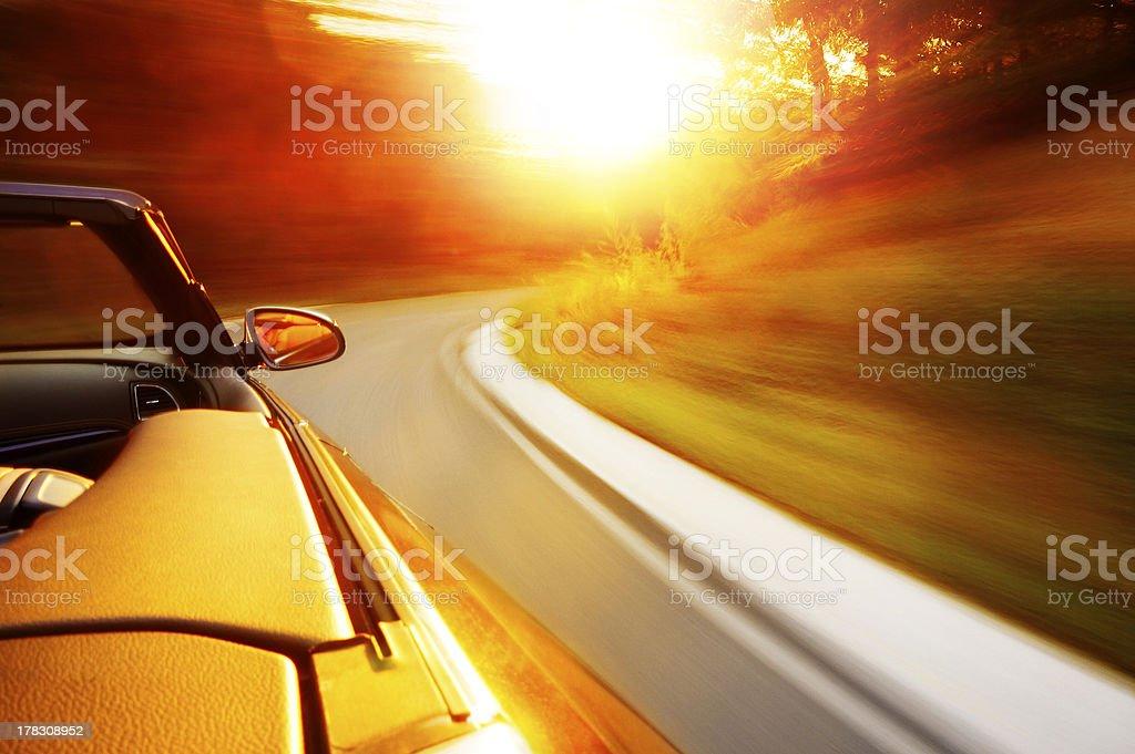 Sunset drive stock photo