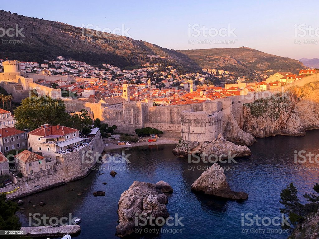 Sunset Dubrovnik Old Town, Mt. Srd on the background ストックフォト