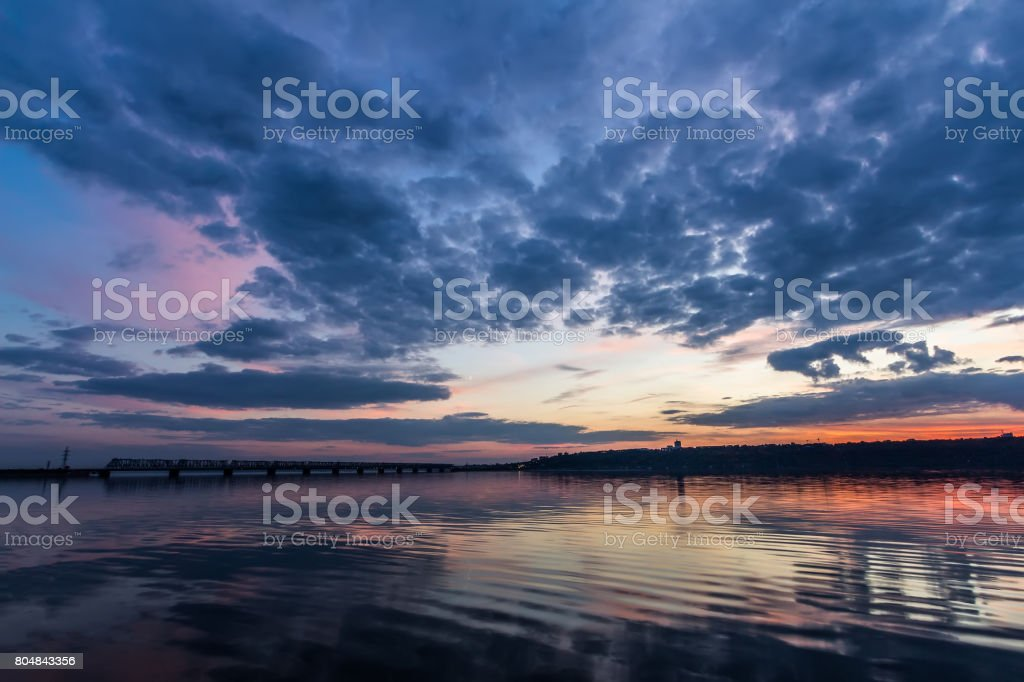 Sunset during blue hour over Volga River and Bridge, located in Ulyanovsk Russia stock photo