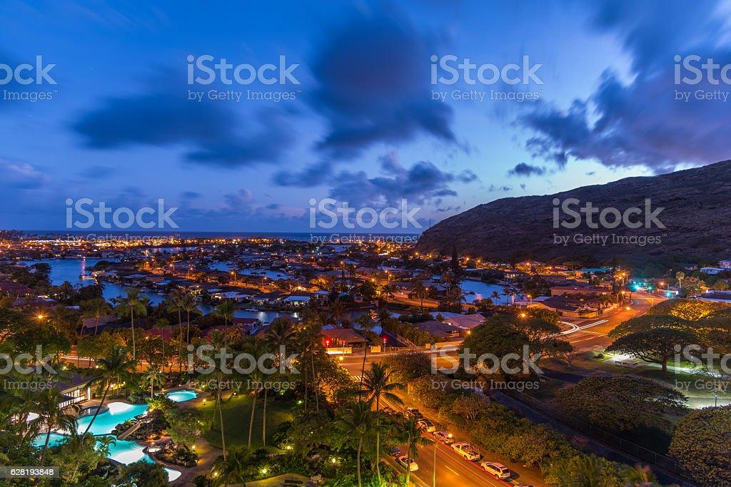 Sunset Dusk in Hawaii kai marina on Oahu, Hawaii stock photo