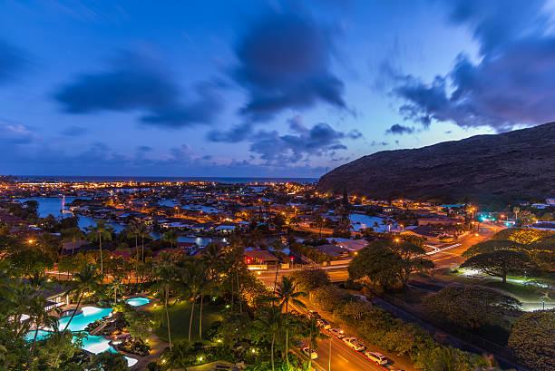 sunset dusk in hawaii kai marina on oahu, hawaii - hawaii home stock photos and pictures
