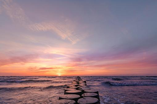 Beautiful sunset over the east baltic sea