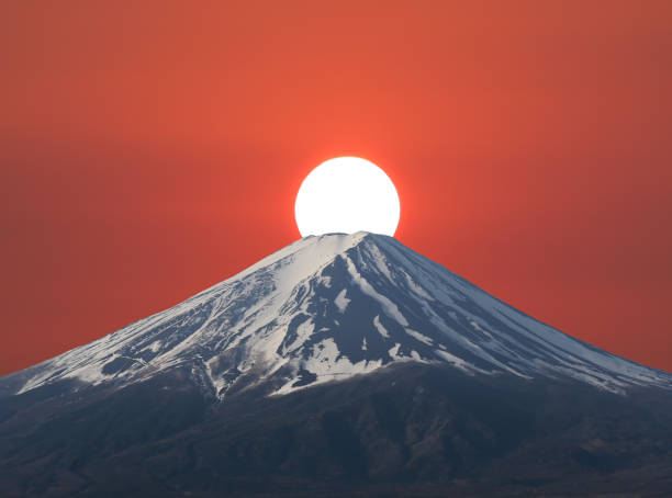 Sunset fall down behind Mt. Fuji of volcano in Japan. stock photo
