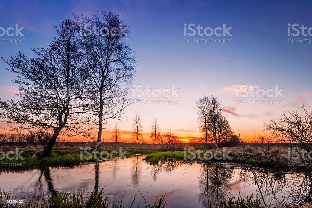 sunset field royalty-free stock photo