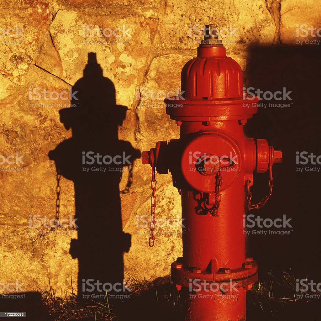 Sunset Fire Hydrant royalty-free stock photo