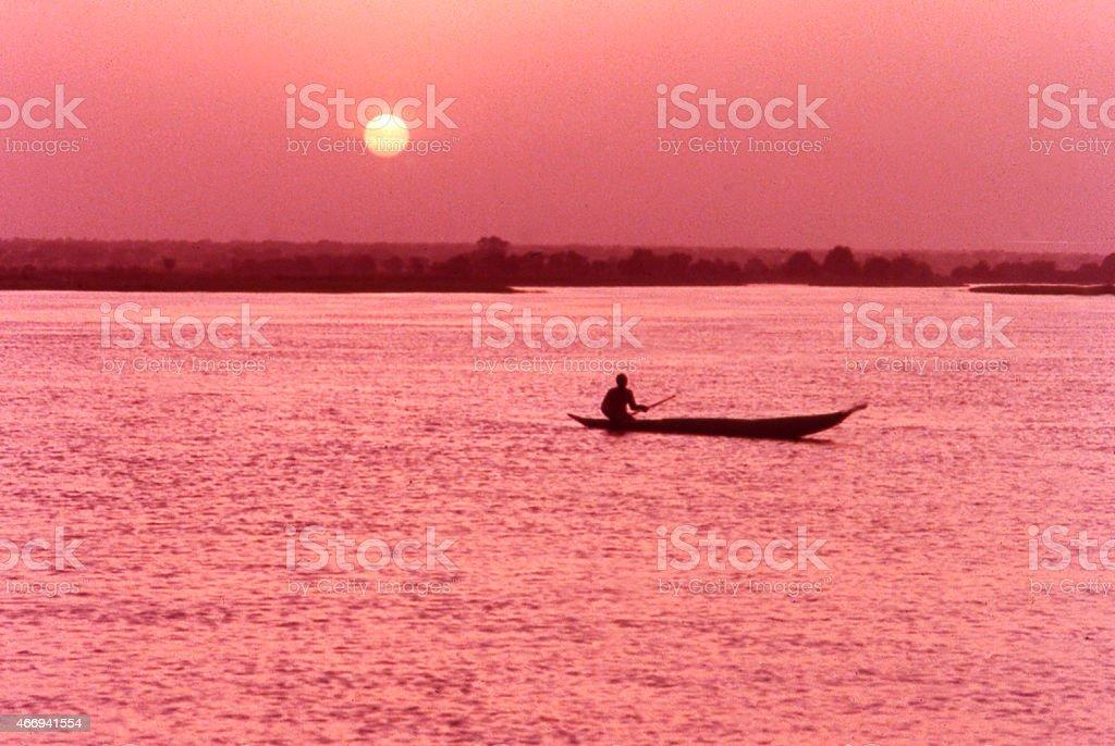 Sunset Fisherman Silhouette  Niger River near Niamey West Africa stock photo