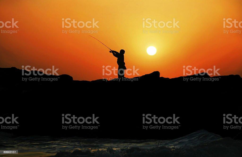 Sunset Fishing royalty-free stock photo