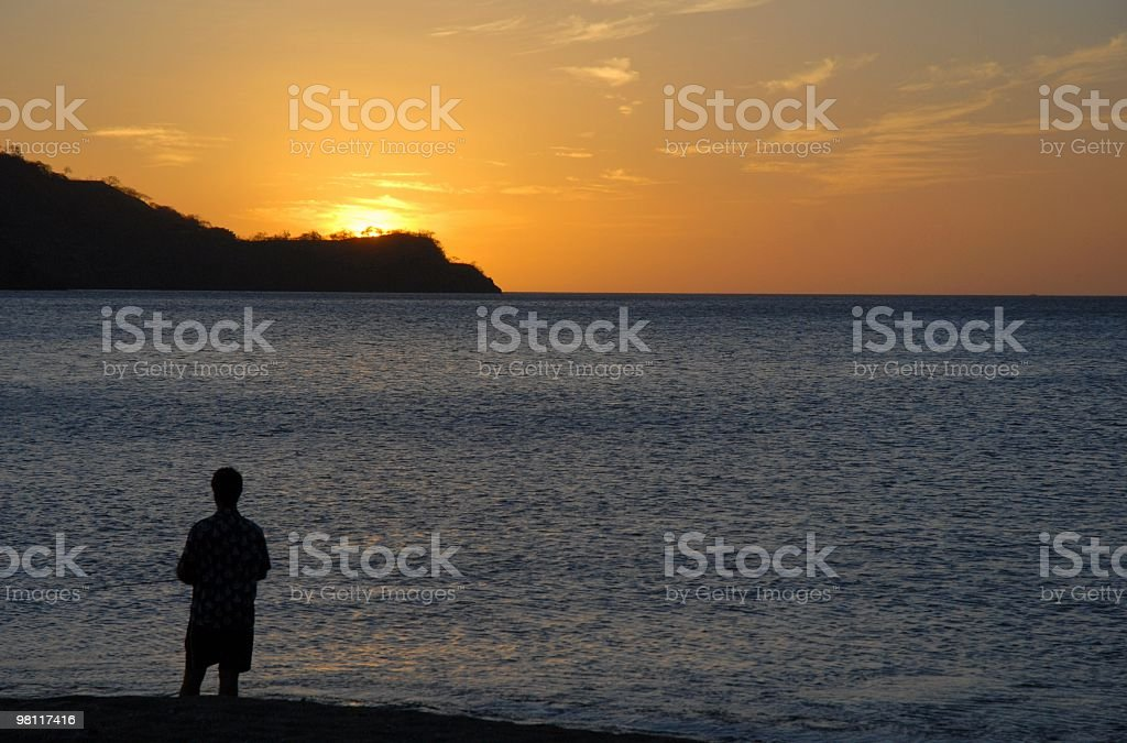 Sunset fishing royalty-free stock photo