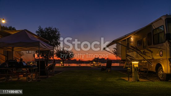 A beautiful sunset sky at a Rv park in Rio Vista , Ca. along the shore of the delta