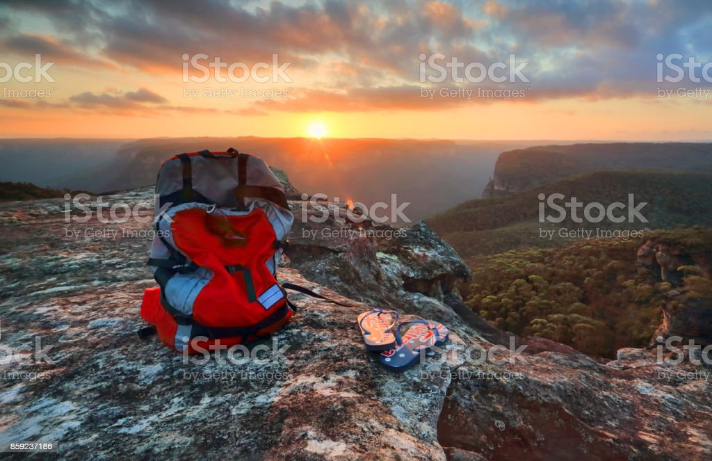 Sunset from a rocky outcrop of the Explorers Range, Blue Mountains stock photo